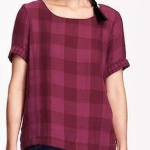 Old Navy Plaid Boxy Top